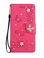 til kuffert kortholder tegnebog rhinestone med stativ flip fuld kropscase fast farve sommerfugl hard pu læder til Sony Sony Xperia Xz