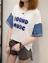 Tee-shirt Femme,Lettre Décontracté / Quotidien simple Demi Manches Col Arrondi Coton