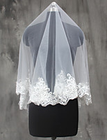 Wedding Veil One-tier Elbow Veils Fingertip Veils Lace Applique Edge Lace Tulle