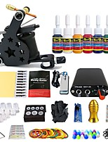 Complete Tattoo Starter Kit 1 Machine 7 Color Inks Set Power Needle Tip Kit