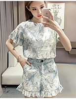 Women's Summer Pant Suits,Floral Print Round Neck Short Sleeve Micro-elastic