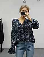 Для женщин На выход Весна Блуза V-образный вырез,Винтаж Цветочный принт Длинный рукав,Полиэстер,Средняя