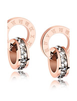 European and American style simple and small square diamond ring of the Roman numeral double ring ring titanium steel rose ear nail earrings