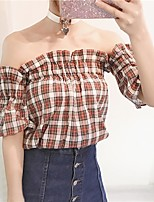 Women's Casual/Daily Simple Shirt,Print Boat Neck Short Sleeves Others