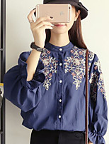 Women's Casual/Daily Simple Spring Blouse,Print Stand Long Sleeves Acrylic Medium