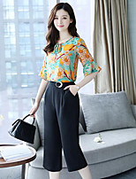 Women's Casual/Daily Simple Summer T-shirt Pant Suits,Print Round Neck ¾ Sleeve