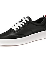 Men's Sneakers Comfort Spring Fall Synthetic Microfiber PU Casual Lace-up Flat Heel Ruby Black White Flat