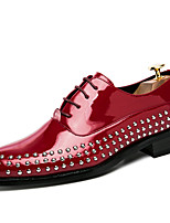Men's Shoes Patent Leather Summer Fall Comfort Oxfords Rivet For Party & Evening Black Red Blue
