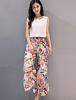 Women's Casual/Daily Simple Summer Blouse Pant Suits,Solid Print Round Neck Sleeveless Micro-elastic
