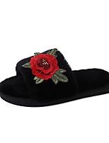 Damen Slippers & Flip-Flops Komfort Herbst Winter PU Normal Kleid Flacher Absatz Schwarz Rot Unter 2,5 cm