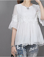 Women's Casual/Daily Simple Blouse,Solid Round Neck Half Sleeves Linen