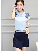 Women's Casual/Daily Simple Summer T-shirt Skirt Suits,Print Shirt Collar Short Sleeve