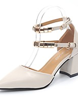 Women's Heels Comfort Summer PU Dress Buckle Block Heel Beige Yellow 2in-2 3/4in