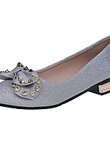 Women's Heels Comfort Spring Fall Patent Leather Casual Bowknot Rivet Low Heel Black Silver Under 1in