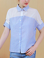 Women's Casual/Daily Simple Blouse,Striped Shirt Collar Short Sleeves Cotton Others