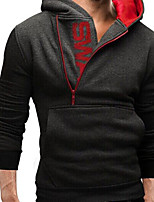 Men's Casual/Daily Hoodie Solid Letter Hooded Micro-elastic Cotton Long Sleeve Spring