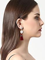 Damen Tropfen-Ohrringe Ohrringe Set Modisch Vintage Böhmen-Art individualisiert Künstliche Perle Harz Aleación Schmuck FürBühne