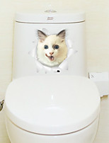 Wall Stickers Wall Decals Surprise Cat Toilet Decoration PVC Wall Stickers