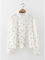 Camicia Da donna Per uscire Casual Semplice Romantico Moda città Estate Autunno,Con stampe Colletto Cotone Manica lungaSottile Medio