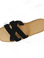 Women's Slippers & Flip-Flops Light Soles PU Summer Casual Flat Heel Black/White Black White Flat