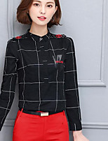 Women's Casual/Daily Simple Shirt,Print Stand Long Sleeves Cotton Others