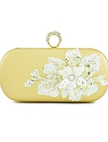 Women Bags All Seasons PU Evening Bag Sequin Crystal/ Rhinestone Flower for Event/Party Formal Gold Black Silver