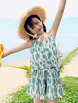 Women's Casual/Daily Simple Summer Blouse Pant Suits,Print V Neck Sleeveless