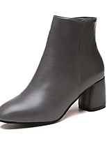 Women's Boots Comfort Fashion Boots Fall Winter PU Dress Office & Career Zipper Chunky Heel Black Gray Brown 1in-1 3/4in