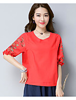Women's Casual/Daily Simple T-shirt,Solid Round Neck Half Sleeves Linen Others