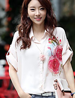 Women's Casual/Daily Simple Summer Blouse,Print Shirt Collar Half Sleeves Acrylic Medium