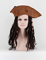 Jack Sparro Pirate Wigs With Hats and Hair Accessories Beads Black Long Faux Locs Wigs