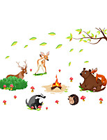 Wall Stickers Wall Decals Lovely Animal Campfire PVC Wall Stickers