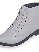 Women's Boots Combat Boots Fall Winter PU Casual Lace-up Low Heel Gray Black Under 1in