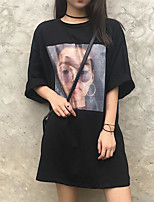 Women's Going out Street chic T-shirt,Print Round Neck Half Sleeves Others