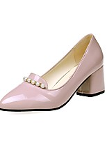 Women's Heels Light Soles PU Summer Casual Dress Pearl Block Heel Blushing Pink Beige Black 2in-2 3/4in