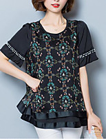 Women's Going out Casual/Daily Simple Cute Summer Fall Blouse,Print Round Neck Short Sleeves Polyester Medium