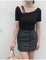 Tee-shirt Femme,Couleur Pleine Sortie Sexy Manches Courtes Col en U Coton