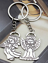 Material Keychain Favors-6 Pairs/Set  Angles  key Ring  Favors Silver