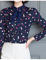 Для женщин На каждый день Блуза Воротник-стойка,Простое С принтом Длинный рукав,Полиэстер Другое