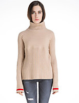 Women's Casual/Daily Simple Short Pullover,Solid Turtleneck Long Sleeves Wool Cotton Polyester Fall Winter Medium Micro-elastic