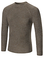 Men's Casual/Daily Simple Regular Pullover,Solid Round Neck Long Sleeves Cotton Acrylic Fall Winter Medium Stretchy