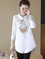 Women's Casual/Daily Simple Shirt,Solid Print Shirt Collar 3/4 Length Sleeves Cotton