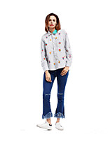Women's Casual/Daily Simple Shirt,Solid Floral Print Shirt Collar Long Sleeves Cotton