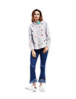 Camicia Da donna Casual Semplice Tinta unita Fantasia floreale Con stampe Colletto Cotone Manica lunga