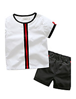 Boys' Striped Sets,Cotton Polyester Spandex Summer Short Sleeve Clothing Set