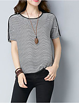 Women's Going out Casual/Daily Simple Summer T-shirt,Striped Round Neck Short Sleeves Cotton