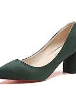 Women's Heels Comfort Summer PU Dress Block Heel Black Green Blushing Pink Khaki 2in-2 3/4in