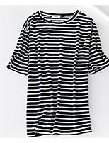 T-shirt Da donna Casual Semplice A strisce Rotonda Cotone Manica corta