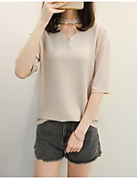 Women's Casual/Daily Simple T-shirt,Solid V Neck Half Sleeves Cotton