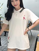 Feminino Camiseta Casual Simples Estampado Letra Algodão Outros Colarinho de Camisa Meia Manga